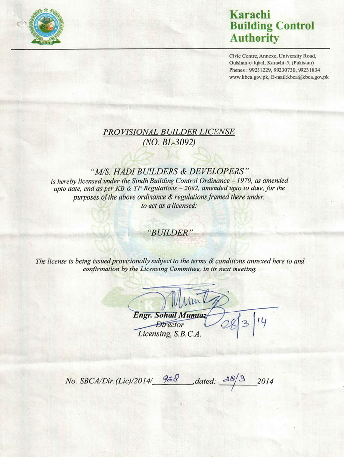 Hadi Builders & Developers License from Sindh Building Control